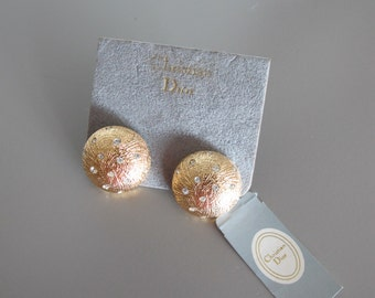 Vintage CHRISTIAN DIOR gold and crystals earrings