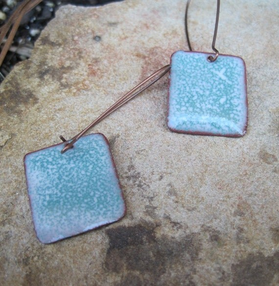 Turquoise / teal and white enameled copper dangle earrings