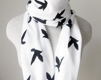 READY TO SHIP - Infinity Scarf - Bird Scarf - Black on White