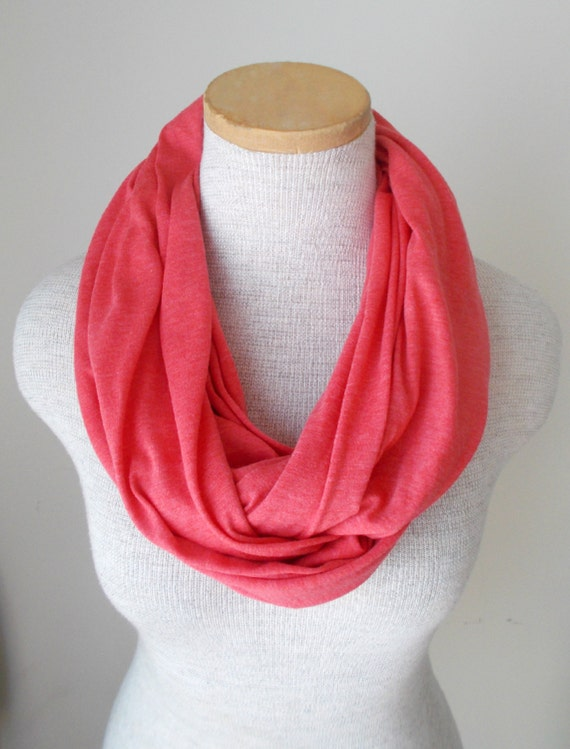 coral jersey knit infinity scarf by megansmenagerie on etsy