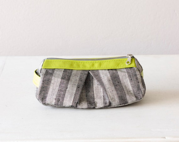 cosmetic bag, makeup case in Stripe cotton grey and lime yellow leather - Estia Bag