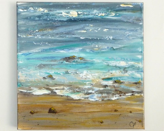 Ocean painting textured abstract beach modern art square