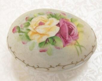 Porcelain Egg Trinket Box Bisque Cabbage Roses Yellow Pink Vintage
