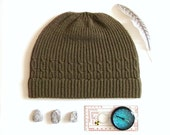 Outdoor hat, mens camping accessory, green wool winter beanie.