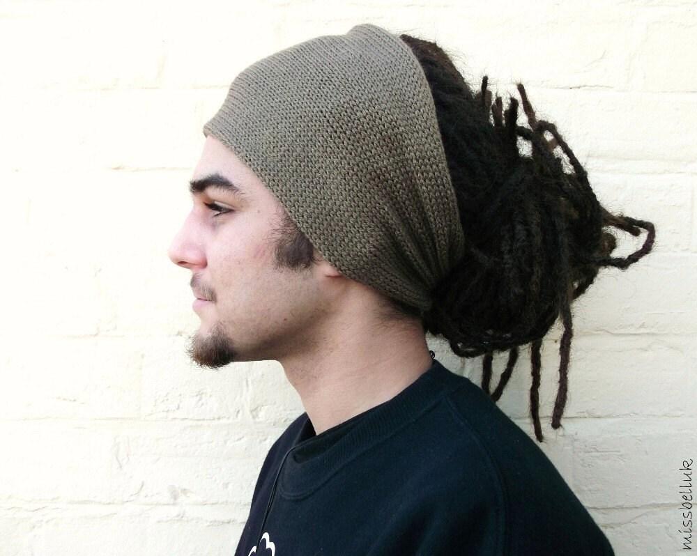 Olive headband wide knitted hair wrap dreadlocks afro hair
