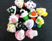 Colorful Polymer Clay Cupcake Charm