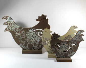 Vintage Hen with Chicks Sculptures Set of Three by Uptown Vintage