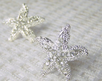 Starfish Bridal Earrings - Rhinestone Starfish Post Earrings - Crystals - Star Earrings - Beach Wedding Earrings