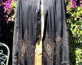Victorian Metallic Embroidered Cape French 1890s  Steampunk Antique Rare Wearable Black silk with Ribbon Ties