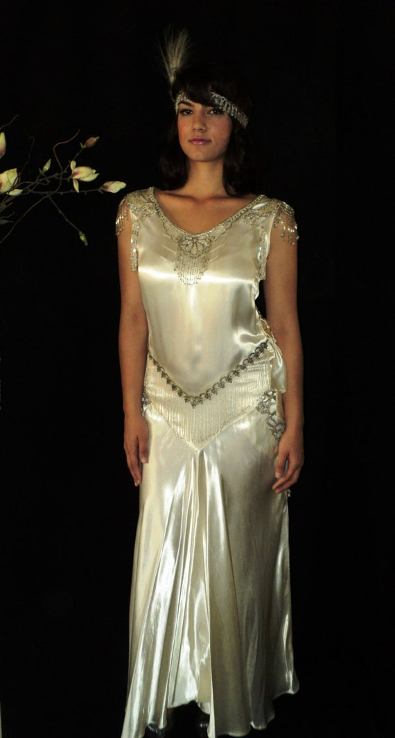 Great gatsby 1920s original wedding dress silk satin bias for The great gatsby wedding dresses