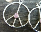 Peace Sign Earrings Sterling Silver Jewelry Stone Color Choice