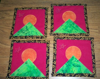 Quilted Coasters - Moon O' the Mountain