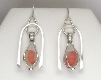Sea Glass Jewelry - Sterling Orange Sea Glass Marble Earrings