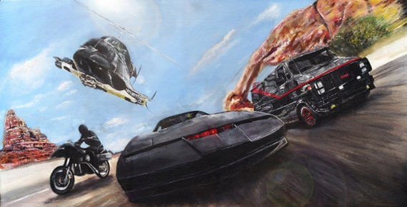 Items Similar To Knight Rider Airwolf A Team Streethawk Limited Edition Art Print On Etsy