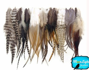 Wholesale Feathers, 100 Pieces - Wholesale NATURAL TONE Short Rooster Hair Extension Feathers (bulk) : 3106