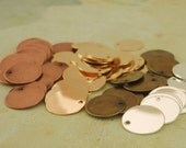 20 Round Stamping Blanks - 15mm - 6 Plated Finishes Available - Handmade Jump Rings Included - 100% Guarantee