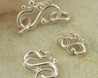 1 Argentium Sterling Silver Hook Clasp with Safety Catch - You Choose Size - Made in the USA - With 2 Soldered Jump Rings - 100% Guarantee