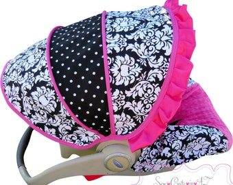 Car Seat Cover Damask with Hot Pink  Infant - Moves to toddler