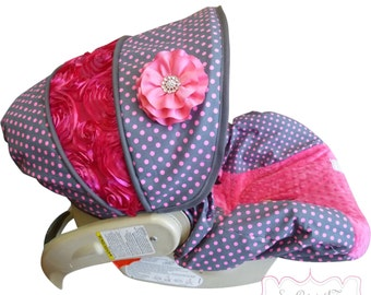 Infant Car Seat Cover Pluto Neon Dot with Hot Pink Rose