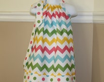 spring chevron Pillowcase dress, Easter dress, blue, green, yellow polka dot toddler easter dress outfit 3, 6, 9, 12, 18 mo 2t, 3t, 4T