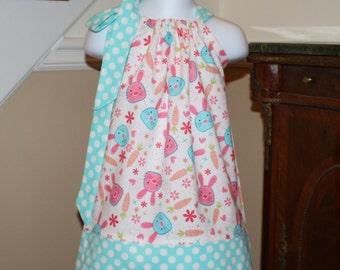Easter bunny Pillowcase dress for toddler baby girls pink, orange, blue polka dot,  toddler dress 3, 6, 9, 12, 18 mo 2t, 3t, 4T