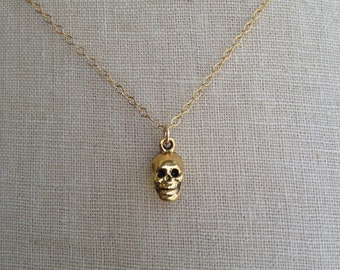 Gold Skull Necklace, Tiny Skull, Dainty Skull, Skull Charm, Skull Jewelry, Skeleton Necklace
