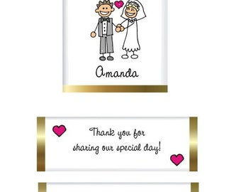 120 Wedding Bridal Nugget Candy Label Wrappers - I Do Cartoon Couple