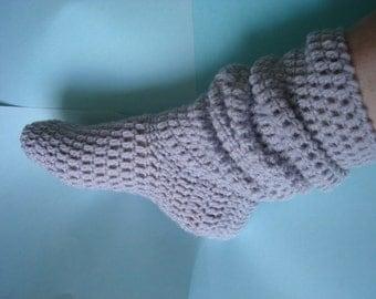 Instant download Baby slouch sock slipper bootie crochet pattern with free adult slouch sock crochet pattern