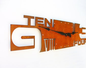 Outnumbered VI, Extra Large Wall Clock, Rustic Wall Clock, Unique Wall Clock, Modern Home Decor, Steampunk Metal Art, Industrial, Laser Cut