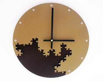 Puzzle III, Medium, Unique Wall Clock, Modern Wall Clock, Steampunk Wall Clock, Industrial Decor, Metal Wall Art, Laser Cut, Cool, Brown