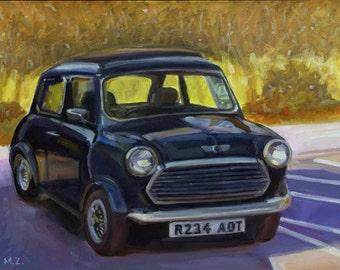 Vintage Mini -  Mini Cooper - Original Oil Painting - 8 x 10 on archival panel
