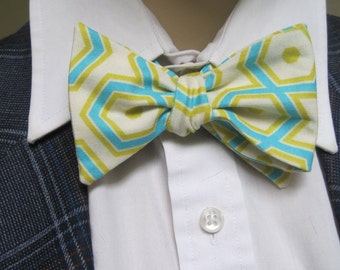 Green Hexagon Gatsby Bow Tie