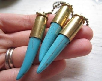 Bullet & Blue Turquoise Talon Necklace - Blue Veined Dyed Howlite Stone Insert with Brass Bullet Casing