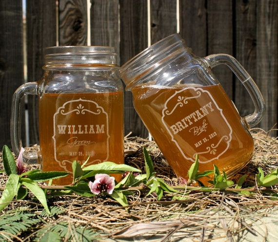 Toasting Glasses,Etched Mason Jar Glasses, 16 ounce. Rustic Wedding Barn Decor, Personalized Wedding Gift, Bridal Shower Gift, Mr & Mrs