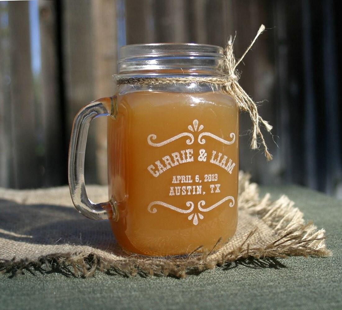 Mason Jar Wedding Favor Ideas: Wedding Favors Personalized Mason Jar Mugs Rustic By