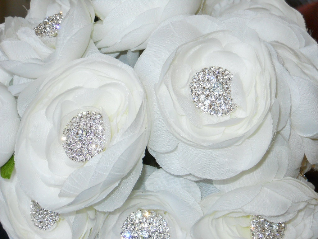 Bridal Flowers With Bling : Items similar to bridal wedding bouquet bling