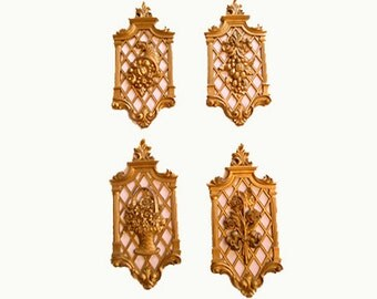 4 Vintage  Hollywood Regency  Floral Gold Syroco Style  Wall Hangings