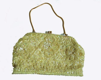 Vintage Baby Yellow   Beaded and Sequin  Purse with Floral  Design 1950'S