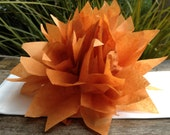 10 Burnt Orange Paper Dahlia Napkin Rings. Perfect for weddings, receptions, baby showers, decor, birthdays. Tissue paper poms