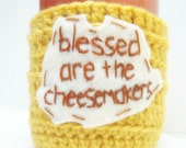Tea Cup Coffee Cozy Coffee Mug Blessed Cheesemakers yellow brown crochet cover