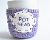 Tea Cup, tea cozy, mug cozy, cosy, funny mug, pot head, purple lavender, cover, crochet, tea pot, marijuana, weed, drugs, gag gift