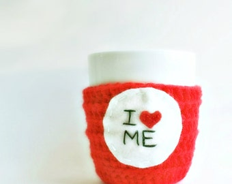 Funny coffee mug tea cup cozy I Heart Me red white black crochet valentines day handmade cover