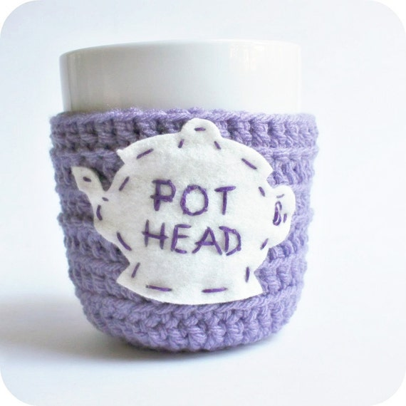 Tea Cup, tea cozy, mug cozy, cosy, funny mug, pot head, purple lavender, cover, crochet, tea pot, marijuana, weed, drugs, gag gift