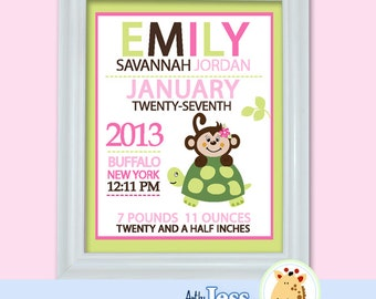Girl Monkey and Turtle Birth Announcement Print - Baby Shower Birth Print