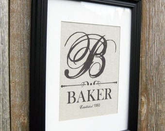 Personalized Family Sign With Monogram and  Established Date, Wedding Shower, House warming