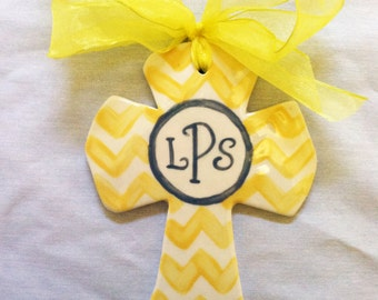 Chevron Personalized or Monogrammed Yellow and Grey Baptism Ceramic Cross in Your Color Choice for Christenings, Baptism or Graduation Gift