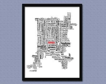 Denver  Map Typography Map Poster Print