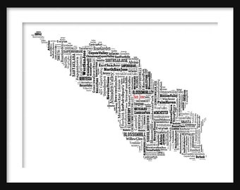 San Jose Map Typography Map Poster Print Tyographical Map