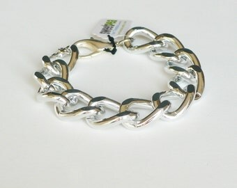 Modern Silver Tone Chunky Cable Chain Link Bracelet