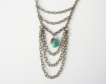Multi Layered Brass Chain with Turquoise Bead Necklace - statement